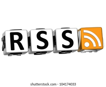 3D Rss Button Click Here Block Text over white background