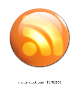 3d RSS button on a solid white background
