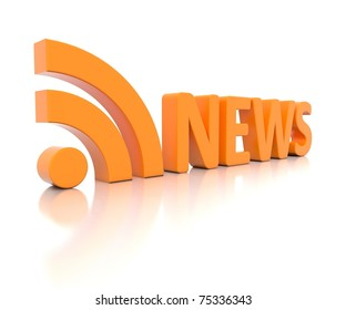 3D RSS NEWS logo rendered on white background