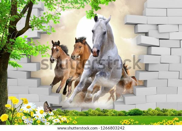 3D Running Horses crushing a wall