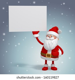 3d Santa Claus holding white card, place your text