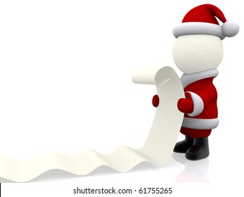 3D Santa Claus with a presents list - isolated over white