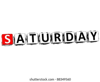 3D Saturday Block Text on white background