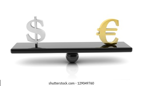 3d scale of dollar and euro