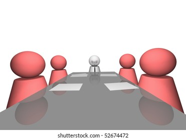 3D scene of a company meeting.