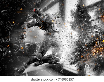 3D Science Fiction Soldier blown away in explosion with particles and flying glass