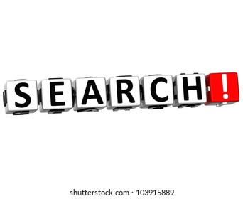 3D Search Button on white background