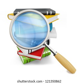 3d searching books with magnifying glass on white background
