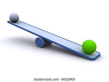 3D Seesaw / balance concept