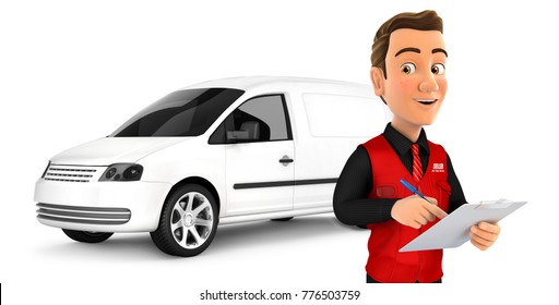 3d seller with notepad in front of car, illustration with isolated white background