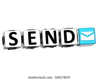 3D Send Button Click Here Block Text over white background