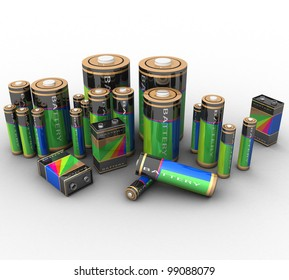 3d set of batteries of various sizes on a white background isolated