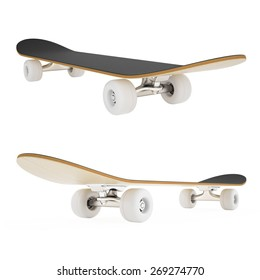 3d set skateboard isolated on white background.