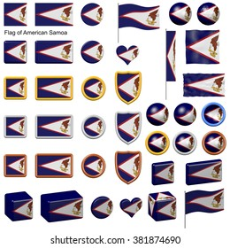 3d shapes containing the flag of American Samoa