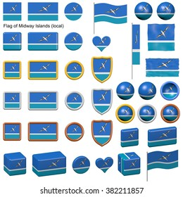 3d shapes containing the flag of Midway Islands (local)