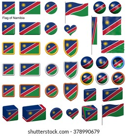 3d shapes containing the flag of Namibia