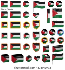 3d shapes containing the flag of Palestine