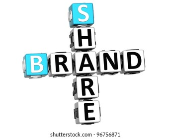 3D Share Brand Crossword cube words on white background