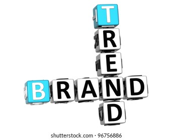 3D Share Brand Trend Crossword cube words on white background