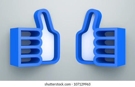 "3D shelves design form blue color "" like "" or two thumb up on white background"