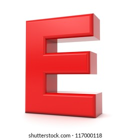 3d shiny red letter collection - E