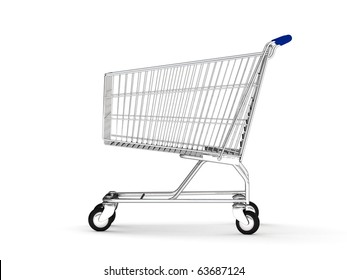 3d shopping cart isolated on white background