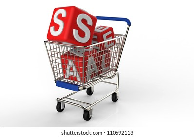 3d shopping cart sale isolated on white background