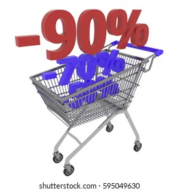 3d Shopping Carts With Red and Blue Percent