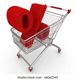 3d shopping push cart isolated on white