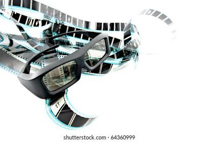 3D shutter glasses on film strip