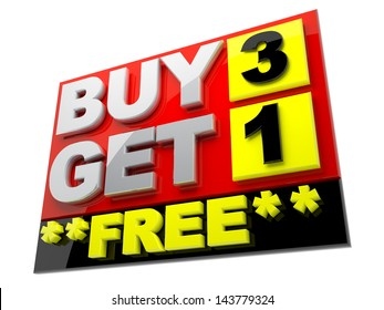 3d sign, prize tag buy 3 get 1 free reflection surface isolated background clipping paths included