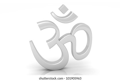 3D silver Hinduism Symbol. ohm