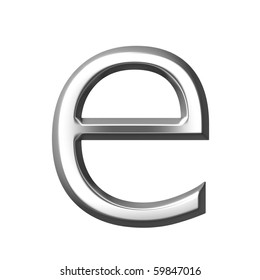 3d silver letter e isolated in white