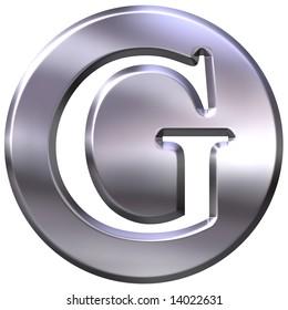 3d silver letter G