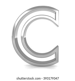 3d silver metal frame letter C rendering with metallic empty line shiny alphabet