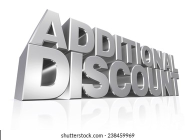 3D silver text additional discount on white background with reflection.
