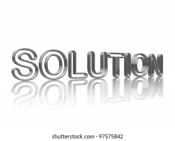 3d silver text solution with reflection over white