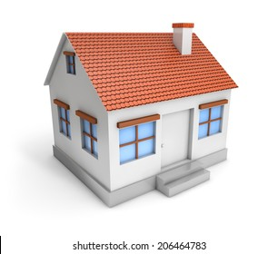 3d simple house isolated white background