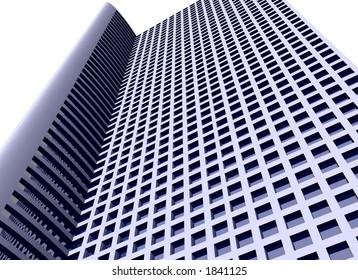 3d skyscraper with path