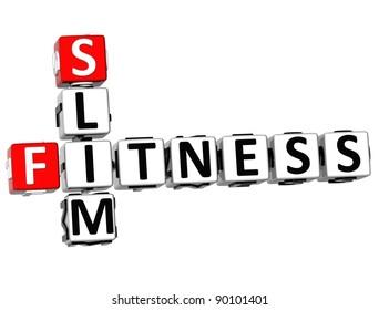 3D Slim Fitness Crossword on white background