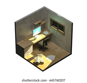 3d Small Office The Arts Stock Image 645760207