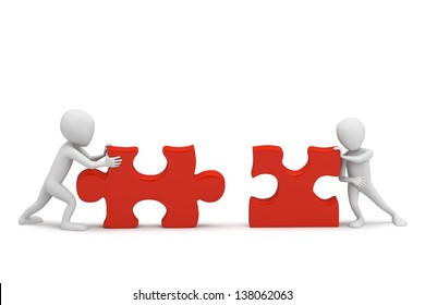 3D small people collect puzzle. 3D image. On a white background.