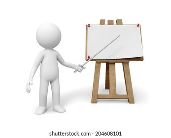 3d small people with a drawing board on White Background