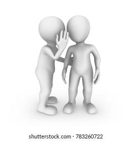 3d small people. Listen carefully, it is a secret...