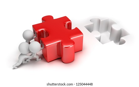 3d small people pushing big puzzle. 3d image. Isolated white background.