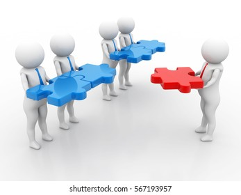 3d small people - team with the puzzles in hands, main part, Isolated white background. 3D rendering