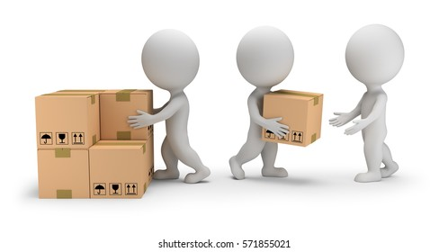 3d small people unload boxes. 3d image. White background.