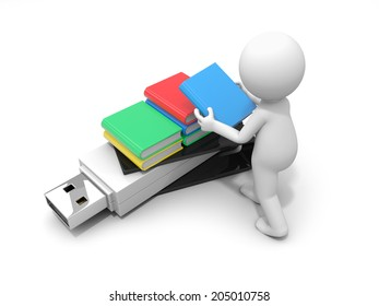 3d small people with a usb flash and some books Isolated on white background