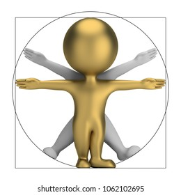 3d small people - vitruvian man. 3d image. Isolated white background.