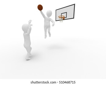 3d small person - basketball player with ball. 3d image. Isolated white background stick man